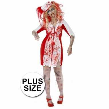 Grote maten halloween zombie zuster jurk dames