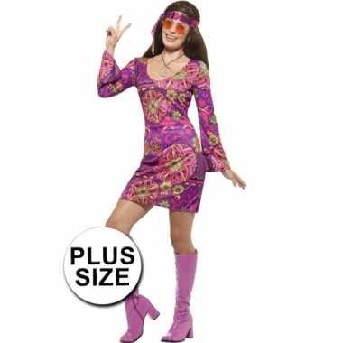 Grote maten hippies woodstock kostuum voor dames