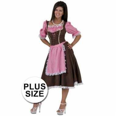 Grote maten oktoberfest kleding bruine jurk