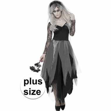Grote maten zombie bruid verkleedkleding voor dames