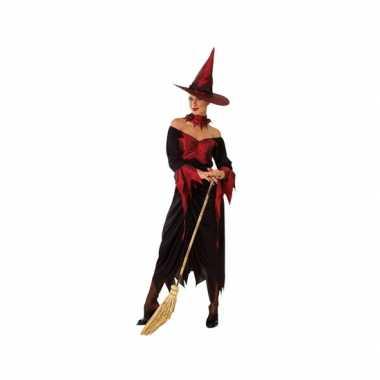 Halloween heksenjurk dames rood met zwart