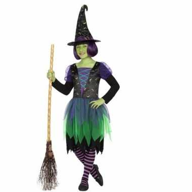 Halloween heksenjurkje groen/zwart voor meisjes