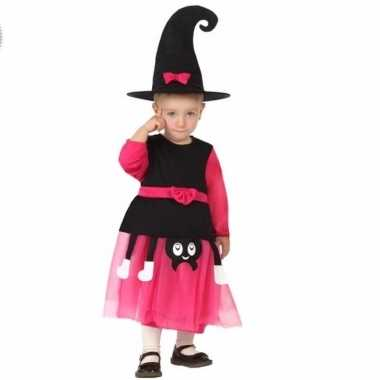 Halloween heksenpakje roze/zwart voor meisjes