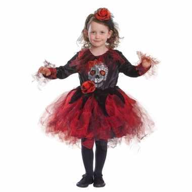 Halloween jurkje met doodshoofd en rode tutu