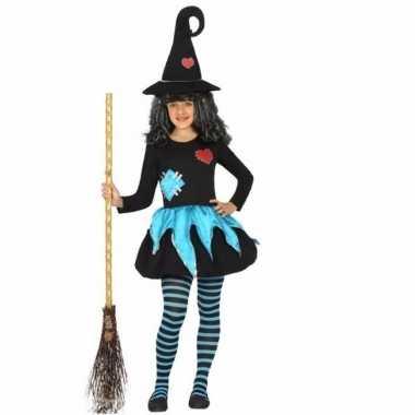 Halloween meisjes kostuum blauw met zwart