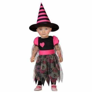 Halloween peuter verkleedkleding heks roze