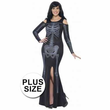 Halloween skelet jurk voor grote dames