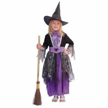 Heksen kinder kostuums zwart/paars