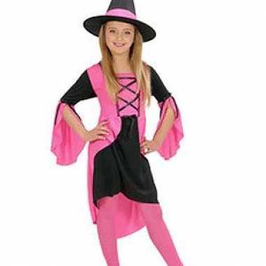Heksen kostuum meisjes roze