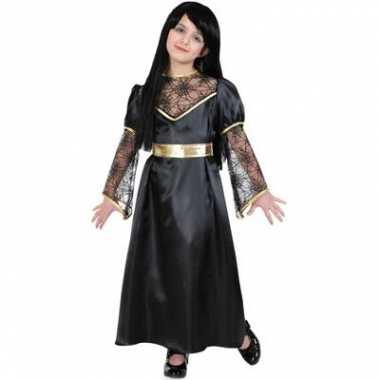 Heksen kostuum zwart/goud voor kids