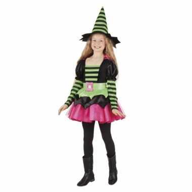 Heksen kostuums groen/roze voor meisjes