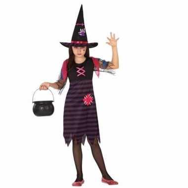 Horror heksen kostuum paars/zwart voor meisjes