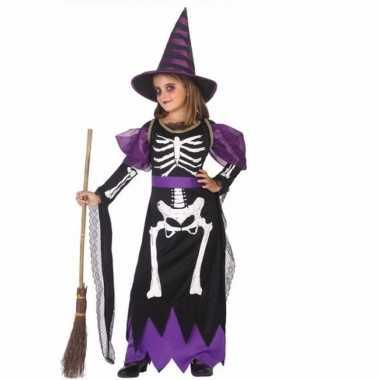 Horror heksen kostuum zwart/paars voor meisjes