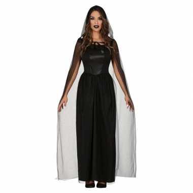Horror verkleed bruidsjurk zwart met cape voor dames