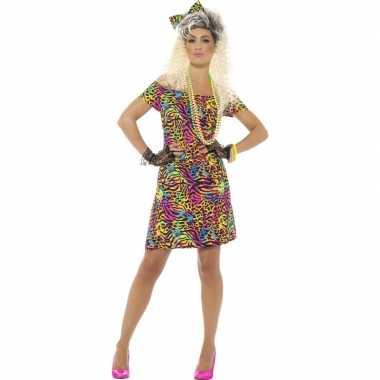 Jaren 80 jurkje met haarstrik neon voor dames