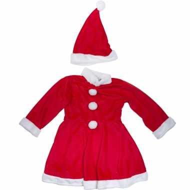 Kerstjurkje verkleedkleding pak met kerstmuts voor meisjes