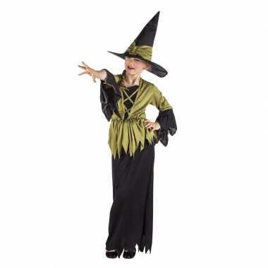 Kinder heksen verkleedkleding heksenjurk zwart/groen