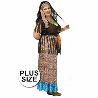Kleurrijk hippie kostuum in grote maat
