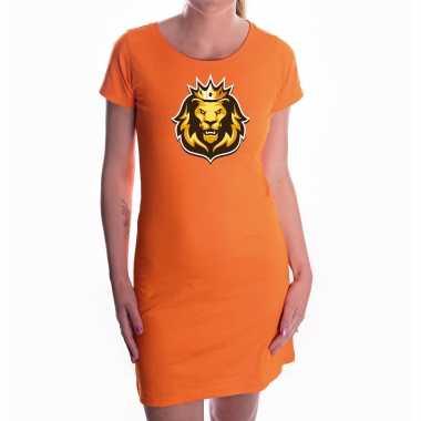 Koningsdag jurkje oranje voor dames - ek/ wk/ oranje fan dress leeuwenkop