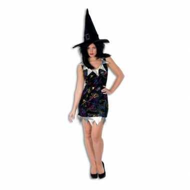 Kort heksen jurkje zwart met zilver