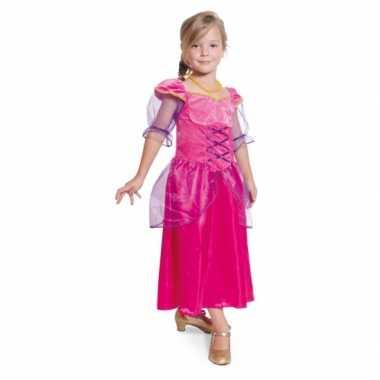 Lange fuchsia roze prinsessen jurk
