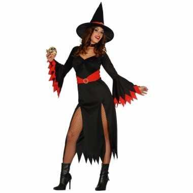 Lange heksen jurk zwart