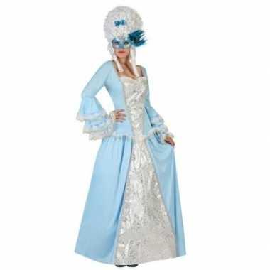Lichtblauw/witte hofdame verkleed jurk voor dames