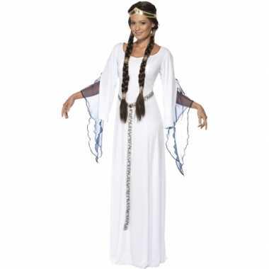 Middeleeuws toga wit kostuum voor dames
