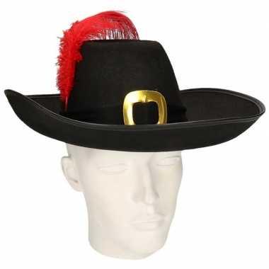 Musketier hoed met zwarte band