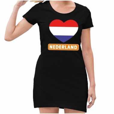 Nederland met rood wit blauw hart jurk zwart dames