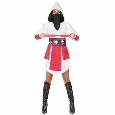 Ninja kostuum wit/rood voor dames