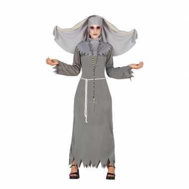 Nonnen dames verkleedkleding grijs