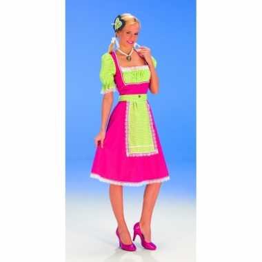 Oktoberfest jurk roze met groen