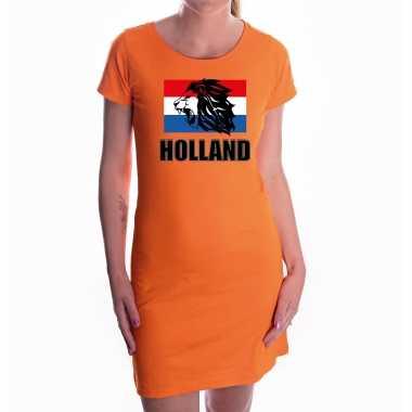 Oranje fan jurkje / kleding holland met leeuw en vlag ek/ wk voor dames