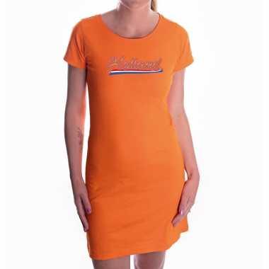 Oranje fan jurkje / kleding holland met nederlandse wimpel ek/ wk voor dames
