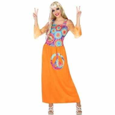 Oranje hippie jurk met cirkels voor dames