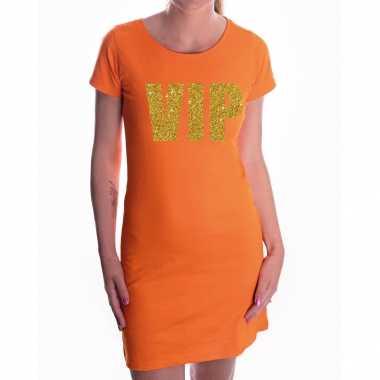 Oranje jurk met gouden vip tekst voor dames
