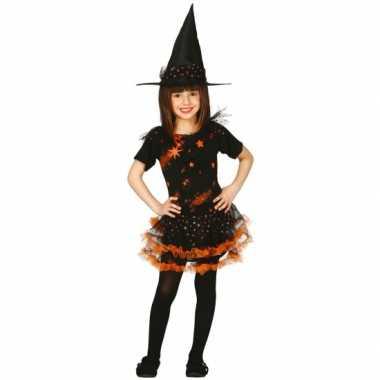 Oranje kinder heksenjurk met sterren