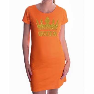 Oranje koningdag queen jurkje met gouden glitters en kroon dames