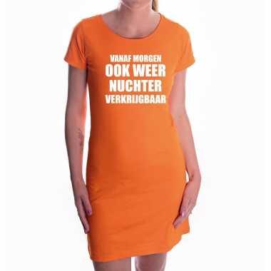 Oranje morgen nuchter verkrijgbaar dress - koningsdag jurkje voor dames