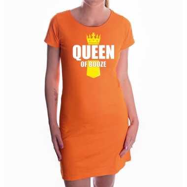Oranje queen of booze jurk met kroontje - koningsdag drank jurk voor dames