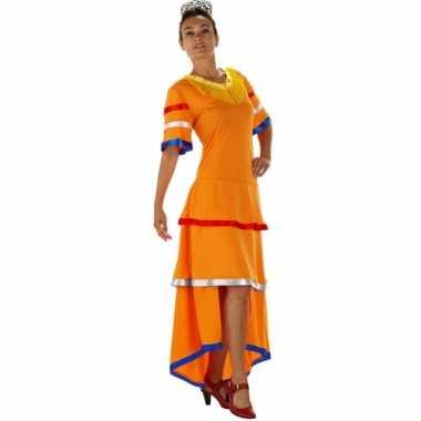Oranje samba dames jurk
