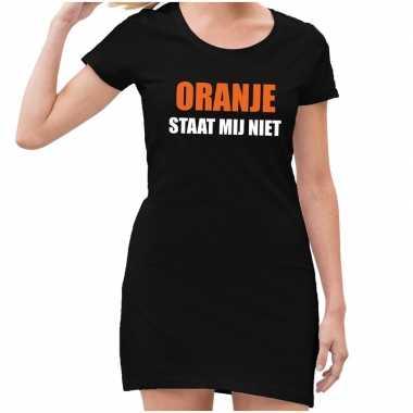 Oranje staat mij niet jurk zwart dames