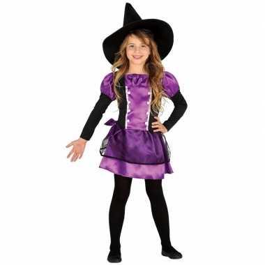 Paars heksenjurkje met heksenhoed voor kids