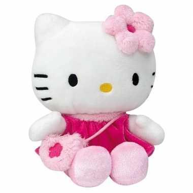 Pluche hello kitty met fuchsia jurkje 15 cm