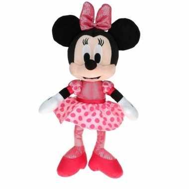 Pluche minnie mouse ballerina met stippen jurk 40 cm