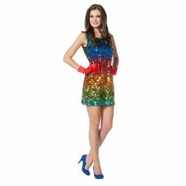 Regenboog glitter jurkje voor dames