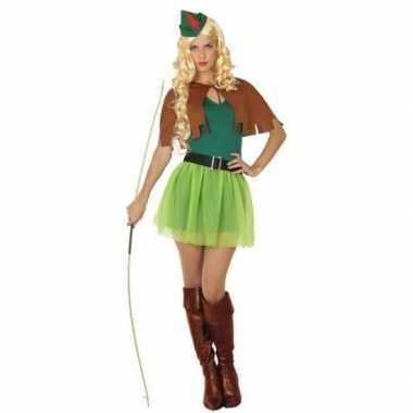 Robin hood kostuum groen/bruin voor dames 4-delig