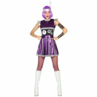 Robot verkleedkleding paars voor dames