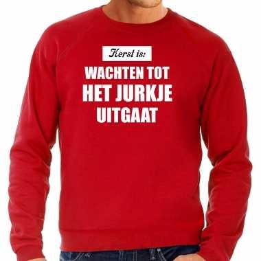 Rode kerstsweater / kerst kleding kerst is: wachten tot het jurkje uitgaat voor heren grote maten